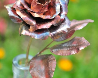 Handmade Copper Rose / Forever Rose / Hand Forged Metal Rose / 7th Anniversary Gift / Mother's Day Gift for Mom