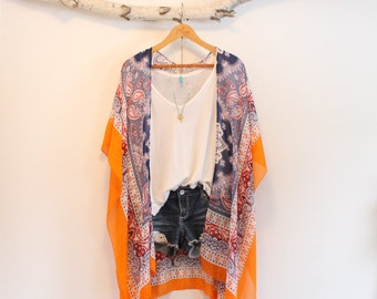 Long bohemian kimono * With tassels * Indian inspired *