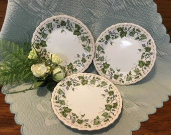 "Decorative Ivy and White Floral Plates,Scalloped Rim, Embossed, Gold trim, Vine Design Plates, 7"" Plates, Dessert, Salad, Bread Plates"