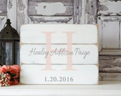 Custom Name sign Wedding Nursery name sign Baby Girl name Baby Boy Rustic pallet wood sign Initial sign White Pink Gray Monogram Farmhouse