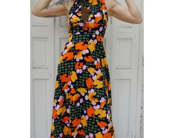 1970s floral backless Maxi DRESS // size eu 36 - uk 8 - us 4