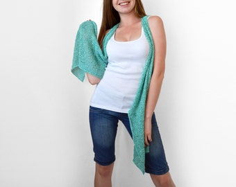 Turquoise knit vest Knit long vest Light summer wear Aqua blue vest. Cyan