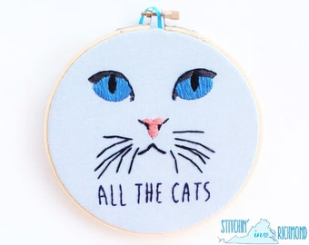 """Cat Embroidery Hoop Art, All the Cats, 6"""""""