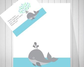 Nautical Baby Shower Guest Book Alternative, Whale Baby Shower, Baby Shower Sign In, Baby Shower Print, Thumbprint Guest Book -  50677