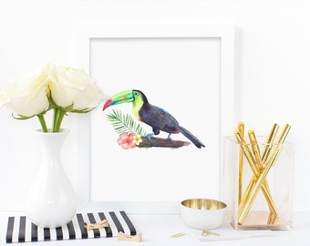 Home decor print, toucan and flowers, watercolor print, digital print, floral print, frangipani print, hibiscus print, instant download