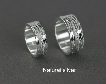 Set silver wedding ring, Texture silver wedding ring, Bark silver wedding ring, Wood wedding ring, Mountain silver wedding ring Handmade