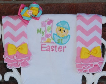 Baby Girl My 1st Easter Outfit! Easter chick outfit for baby girls with applique bodysuit, leg warmers, and hair bow! My 1st Easter