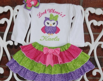 Owl Birthday Outfit! Baby girl first birthday owl outfit! Pink, purple and green owl birthday outfit with applique top, ruffle skirt and bow