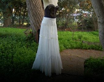 Vintage Petticoat, Wedding Petticoat, Sheer Petticoat, Antique Petticoat, Tiered Petticoat,  Small Petticoat, Long Petticoat