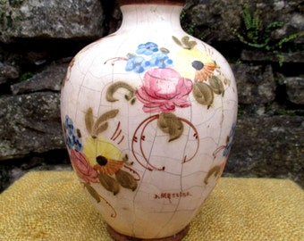 1940s Vallauris hand-painted floral vase by Jéröme Massier / Jeanne Massier