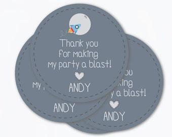 Etiqueta Cohete Tarjeta Agradecimiento cumpleaños / imprimible pdf / idea fiesta recuerdo bautizo espacio astronauta baby shower descargable