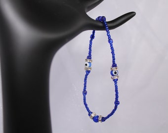 Royal Blue Evil Eye Seed Bead with Round Crystal Silver Spacer for Woman