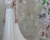 Sexy Romantic 3D Lace, Silk Bridal Gown, Beach Wedding dress