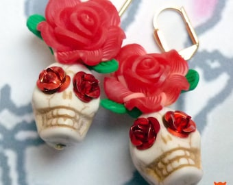 Sugar Skull Earrings, Day of the Dead Earrings, Cream Color Skulls, Red Aluminum Rose Eyes. Contact Me for Variations Available!