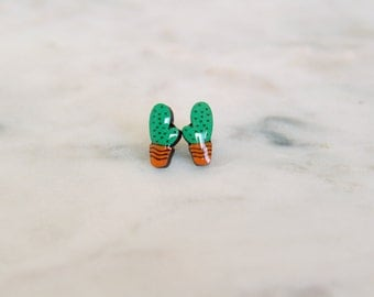Wooden Succulent Earrings - Stud earrings - Lasercut - Cactus Earrings - Wood Earrings.