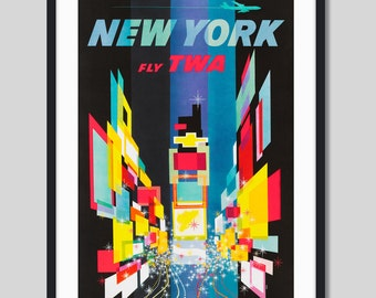 New York TWA by David Klein Vintage Travel Poster