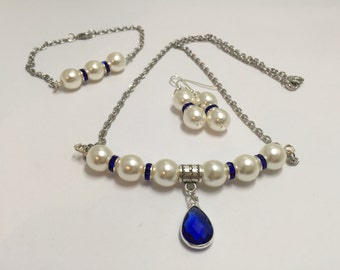 Complete set, Navy and ivory pearls, ref 756