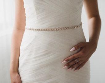 Rose Gold Bridal Belt | Skinny Rose Gold Crystal Wedding Belt | Rose Gold Wedding Dress Sash | Rose Gold Bridesmaid Sash Belt | THE DELPHINE
