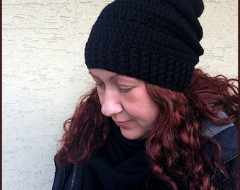 Womens slouchy hat,Black slouchy beanie,Black chunky beanie,Black winter beanie,Black beanie hat,Black chunky hat,Black woman crochet beanie