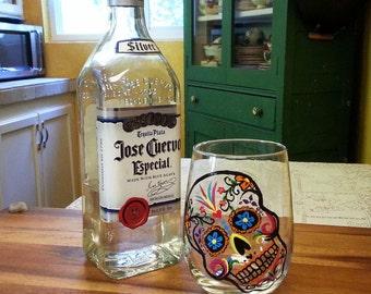 Hand Painted Sugar Skull Wine Glass Dia de los Muertos Stemware Day of the Dead