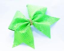 Cheer bow, Green cheer bow, gold sequin cheer bow, cheerleader bow, cheerleading bow, cheerbow, softball bow, pop warner cheer bow, big bow