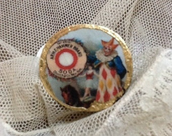 """Wooden ring and gold leaf. """"The circus"""""""