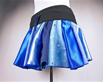 Patchwork Skirt, Upcycled Clothing, Blue Hippie Skirt, Hoop Skirt, Hippie Clothes, Bohemian Clothing, Short Skirt, Boho Chic, Pixie Skirt