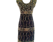 Elegant 1920s Vintage Inspired, Great Gatsby Dress, Art Deco Black 30s Dress, Gold Sequence Beaded Tunic Dress, Cocktail Party Dress L