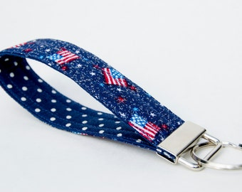 Vegan Key Fob, Key Chain, Dark Navy American Flag with Polka Dots