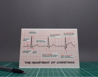 The Heartbeat of Christmas ECG Letterpress Card