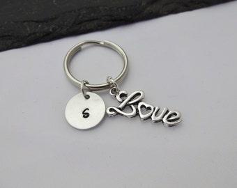 Love Keychain, Initial Love Keyring, Hand Stamped Keyring, Love Gift, Charm Keyring, Love Keyring, Personalised Keyring, Love, Heart