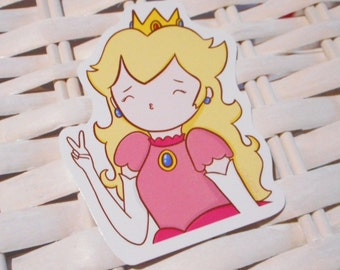 cute princess peach sticker - nintendo mario
