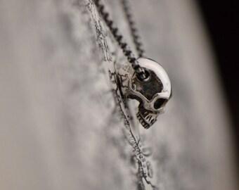 Silver skull pendant etsy sterling silver half skull pendant highly detailed silver skull jewelry rocker pendant biker mozeypictures Image collections