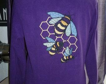 Bee Fleece Jacket. Microfleece Purple. Ladies. Bee keeper  Beekeeping Apiarist Honey Bee. Zip up