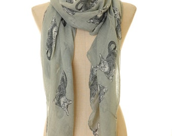 Grey Voile Cat Animal Print Infinity Scarf Summer Shawl Loop Circle Hijab Scarves Wraps Adult/Child/Toddler Scarf (S-24)
