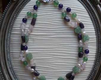 Spring Time  Double strand/twist gemstone necklace.
