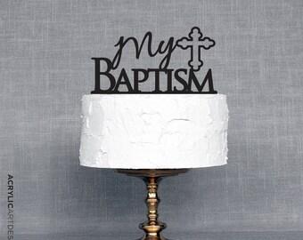 My Baptism Cross Cake Topper by Acrylic Art Design