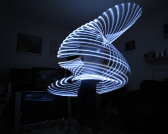 """White LED Hoop, Cool White, Up to 30 LEDs! Collapsible, Coils for Travel, Festival Dance Hoop by Moons Of Noor. HDPE or PolyPro, 3/4 or 5/8"""""""