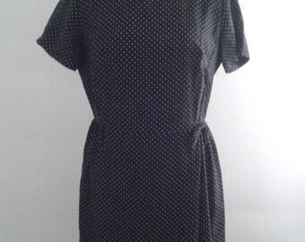 Vintage 1950's Black White Pin Dot Dress Straight Cut Sz Large Mad Men