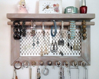 Jewelry Organizer Wall Mount Necklace Organizer, Earring Holder, Ring Holder, Bracelet Bar with Shelf. Unique Wall Jewelry Storage Display.