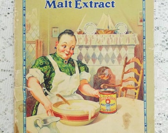 Vintage 1928 Cookbook, Tested Recipes with Blue Ribbon Malt Extract, Made in USA by Premier Malt Products Co., Advertising Ephemera