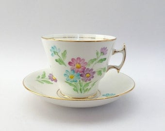 Phoenix Bone China Tea Cup and Saucer; Hand Painted Bone China Teacup; TF & S Phoenix China; Floral Pattern Tea Cup; Vintage Cup and Saucer