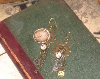 Brass & Silver Steampunk Sparkle Watchface Earrings