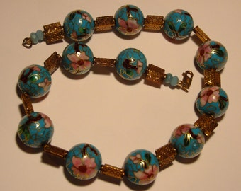 Turquoise cloisonne with vermeil squares and vermeil lobster clasp