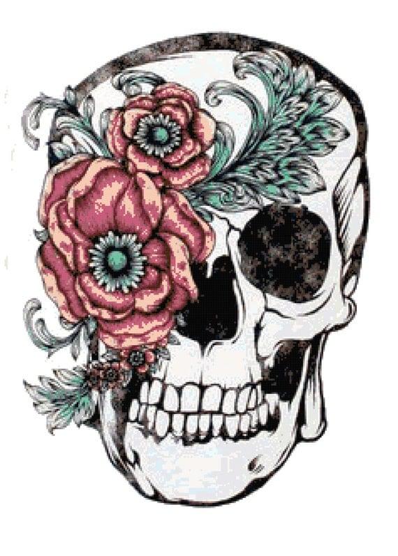 Rose Eye Sky Skull Cross Stitch Printable Needlework Pattern