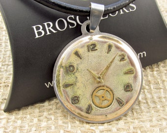 Steampunk Men's pendant, Antique Clock face necklace, Modern jewelry, Mens cord, clock jewelry, antique jewelry, dial pendant necklace, one