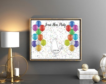 Birthday party guest book Customised Birthday Party Print Bachelorette keepsake gift for bride Hen Night Party Keepsake Idea Personalised