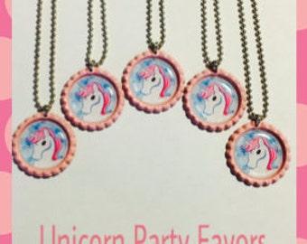 24 UNICORN Party Favors bottlecap necklaces or Unicorn keychains Princess Party Unicorn birthday Party Unicorn Favors