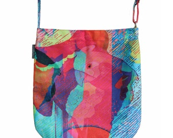 Sale - Parrot print Canvas Tote, Messenger bag or Handbag - Great birthday gift