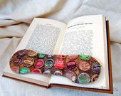 Book Weight - retro soda pop bottle caps - brown fabric bookweight